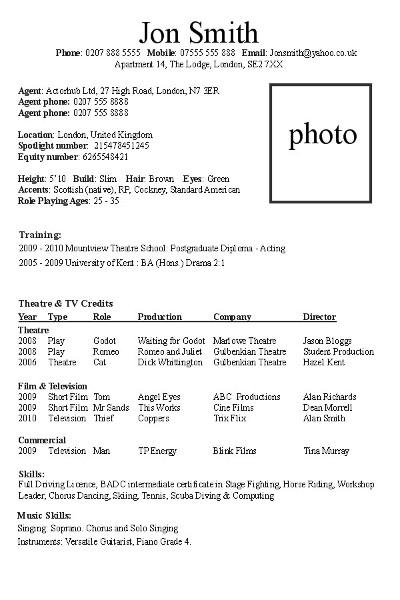 Actors Resume Example | Resume Format Download Pdf